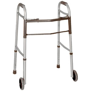 "Medline Easy Care Two-Button Folding Walker with 5"" Wheels"