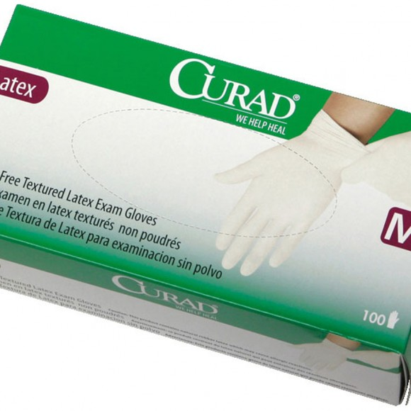 CURAD Powder-Free Textured Latex Exam Gloves,Beige